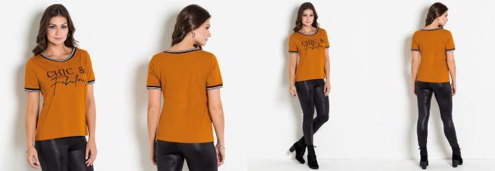 2d9913ae09 Score  0.0 T-Shirt Caramelo com Estampa e Retilínea