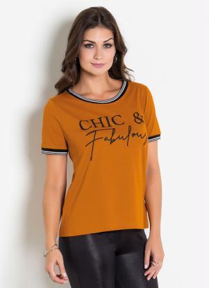 T-Shirt (Caramelo) com Estampa e Retilínea