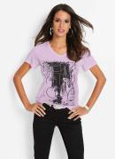 T-Shirt com Estampa Frontal Nyc Lilás