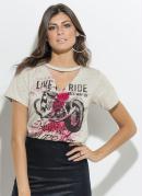 T-Shirt com Gola Choker Mescla Quintess