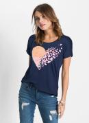 T-Shirt de Coração com Lantejoula Azul Marinho