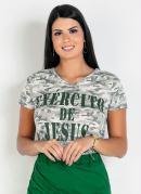 T-Shirt Decote V Camuflada