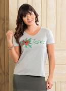 T-Shirt Decote V Mescla