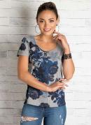 T-Shirt Floral com Barra Mullet e Decote Redondo