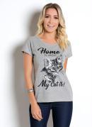 T-Shirt Mescla com Estampa Gato