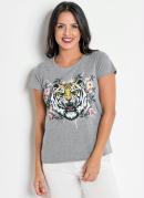 T-Shirt Mescla com Estampa na Frente