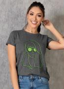 T-Shirt Mescla com Estampa Neon