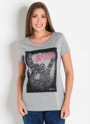 T-Shirt Mullet Mescla com Estampa Localizada