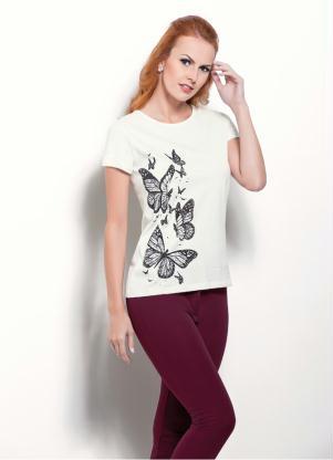 T-Shirt (Off-White) com Estampa de Borboleta