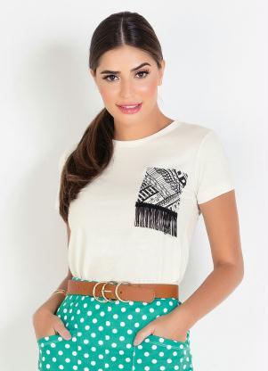 T-Shirt (Off White) Moda Evangélica com Detalhe
