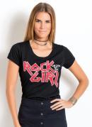 T-Shirt Quintess com Estampa Rock Girl Preta