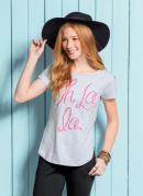 T-Shirt Quintess Mescla com Barra Arredondada