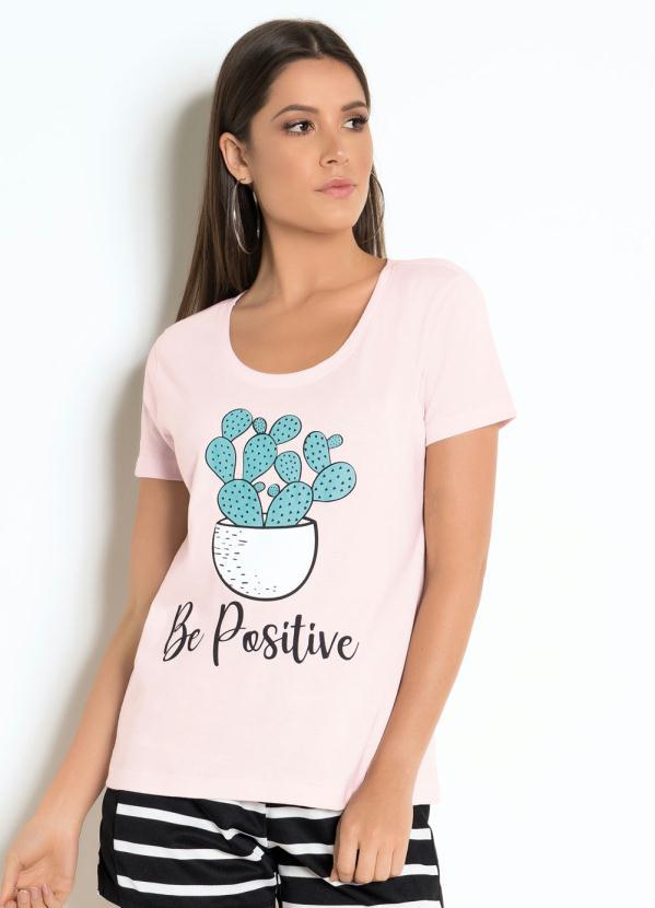 T-Shirt (Rosa) com Estampa Cactos