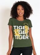 T-Shirt Verde com Estampa de Tigres