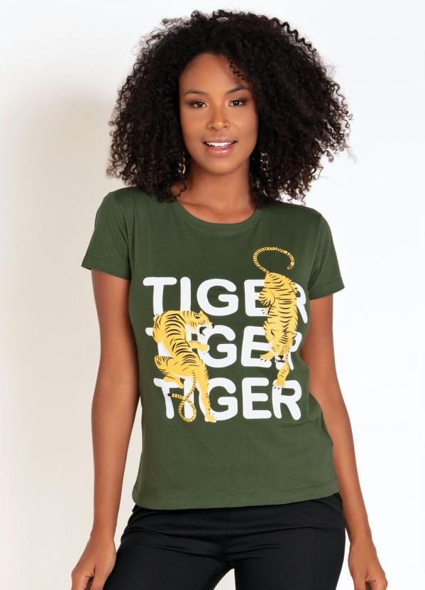 T-Shirt (Verde) com Estampa de Tigres