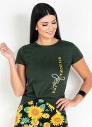 T-Shirt Verde com Estampa Moda Evangpelica
