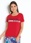 T-Shirt Vermelha com Estampa Frontal