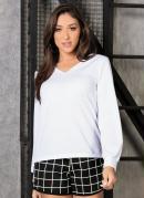 Blusa Branca com Decote em V