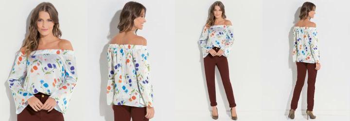 Blusa Ciganinha Floral Cravos Quintess