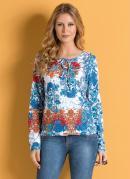 Blusa com Amarração no Decote Floral