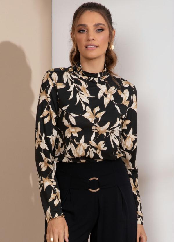 Blusa com Botões Decorativos (Floral Caramelo)