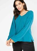 Blusa com Fendas e Decote V Azul
