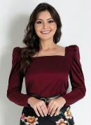Blusa com Franzidos Bordô Moda Evangélica