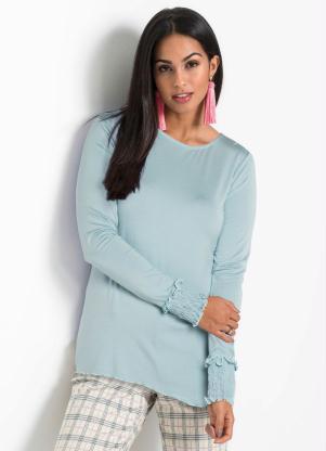 Blusa com Franzidos e Babadinhas (Azul Claro)
