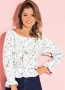 Blusa com Franzidos Floral Branco