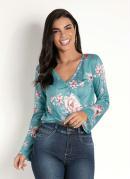 Blusa com Transpasse Floral Verde
