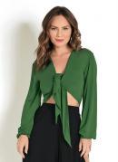 Blusa Cropped Verde com Amarração Frontal