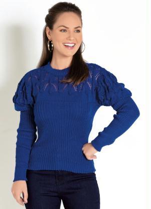Blusa de Tricô (Azul Royal) com Detalhe Vazado