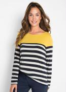 Blusa Decote Canoa Listrada Amarela e Azul