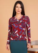 Blusa Decote em V Floral Moda Evangélica