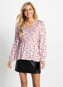 Blusa Decote V com Amarração Floral/Bege