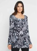Blusa Estampada Decote Quadrado Floral/Preto