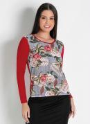 Blusa Estampada Floral Vermelha Moda Evangélica