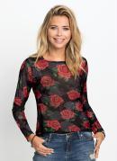 Blusa de Tule Floral Preta