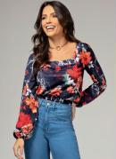 Blusa Floral Azul com Decote Quadrado