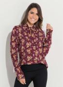 Blusa Floral Bordô Quintess com Amarração