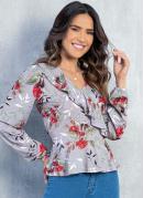 Blusa Floral Cinza com Decote V e Babados
