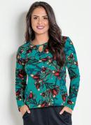 Blusa Floral com Gota no Decote