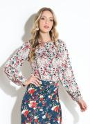 Blusa Floral Off White com Recortes