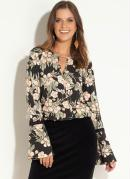 Blusa Floral Preta com Decote Vazado
