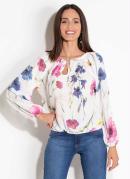 Blusa Floral Quintess com Elástico nas Mangas