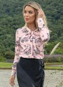 Blusa Gola Laço Rosa Estampa Listras e Floral