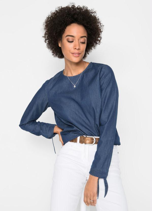 Blusa Jeans com Amarração (Azul Escuro)