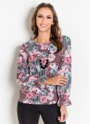 Blusa Manga Longa com Franzido Floral