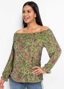 Blusa Ombro a Ombro com Babadinhos Paisley Verde