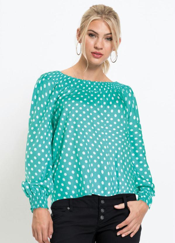 Blusa Ombro a Ombro com Franzido (Poá Verde Água)